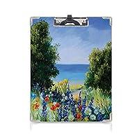 クリップボード 花 ミニバインダー 緑の葉と白いバラの花束背景絵画効果ビュー 用箋挟 クロス貼 A4 短辺とじブルーグリーンイエロー