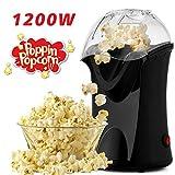 Hopekings Machine à Pop Corn 1200W, Air chaud sans huile avec Tasse à mesurer et Housse détachable, Noir