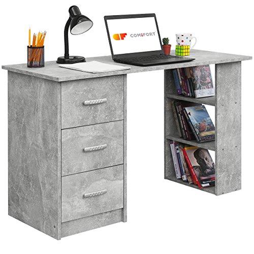COMIFORT Mesa de Trabajo – Escritorio Robusto y Espacioso, Estilo Moderno y Minimalista, con Gran Capacidad de Almacenaje, 3 Baldas y 3 Cajones, Color Stone