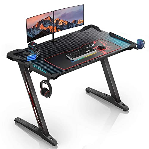 """EUREKA ERGONOMIC Z1-S Gaming Desk 44.5"""" Z Shaped Home Office PC Computer Desk, One-Piece Table Top Pro with LED Lights Controller Stand Cup Holder Headphone Hook Mousepad for Men Boyfriend Female Gift"""