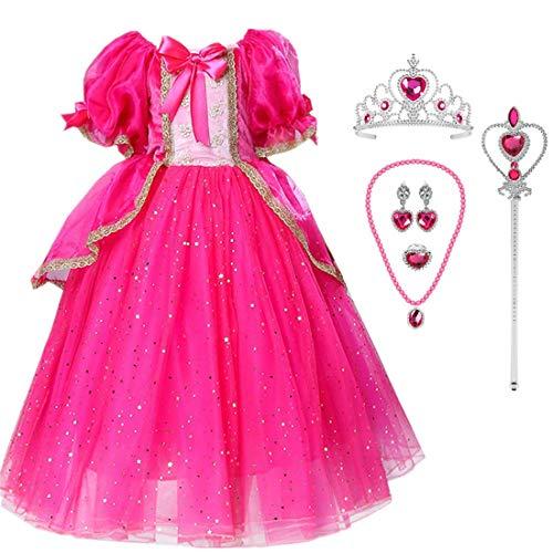 O.AMBW niña Princesa Vestido Bella Durmiente Princesa Aurora Disfraz Rosa Retro Disfraces Fiesta de Carnaval de Halloween Fiesta de cumpleaños Cosplay Disfraz Accesorios Guantes Corona Varita