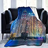 UQ Galaxy Unisex Throw Blankets,Rascacielos En Dubai Manta Lavable para Viajes De Niños Adultos,102x127cm