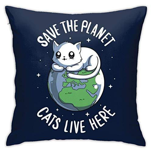 WH-CLA Pillowcase Save The Planet Cats Live Here Anime Funda De Almohada Duradera para Cuartos De Estar 45X45 Cm Hogar Acogedor Personalizado Fiesta Decorativa Suave Fundas De Almohada Ca