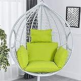 Cojín para silla colgante con forma de huevo grueso para silla de columpio o silla de respaldo grueso acolchado suave para interior al aire libre, patio, jardín, playa, oficina (sólo cojín) (verde)
