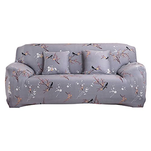 WOWTOY Sofa Cover 1 2 3 4 Seater Slip Cover Sofa Couch Stretch Elastic Fabric Sofa Protector (3 Seater, Grey Pattern)