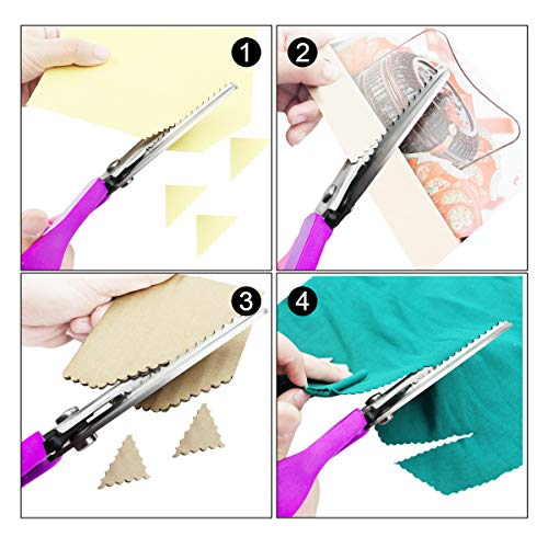 Scalloped Pinking Shears, P.LOTOR 9.3 Inches Stainless Steel Handled Professional Dressmaking Sewing Scissors Zig Zag Fabric Craft Scissors (Scalloped)