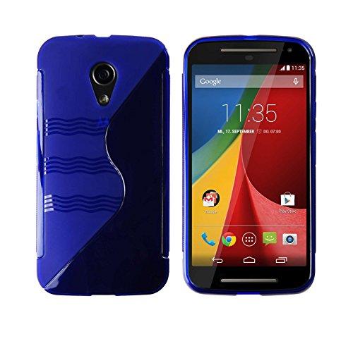 Luxburg® S-Line Design Schutzhülle für Motorola Moto G 2. Generation in Farbe Kobalt Blau, Hülle Hülle aus TPU Silikon
