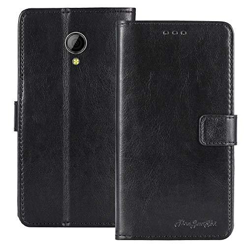 TienJueShi Noir Flip Book-Stand Cuir Housse Coque Etui Cas Couverture Protecteur Case Cover Skin pour Logicom L-ement 403 4 inch