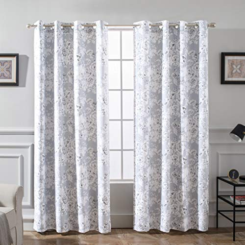 DriftAway Flower Floral Pencil Sketch Blackout Room Darkening Grommet Lined Thermal Insulated Energy Saving Window Curtains 2 Layer Set of 2 Panels Each 52 Inch by 84 Inch Gray and Soft White