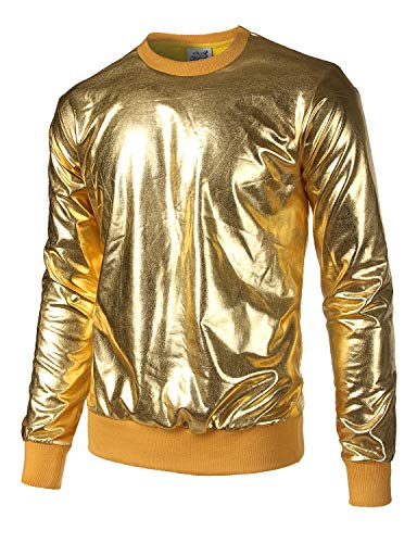 JOGAL Herren Metallic Gold Disco Shirts Nachtklub Style Hoodies Medium Gold