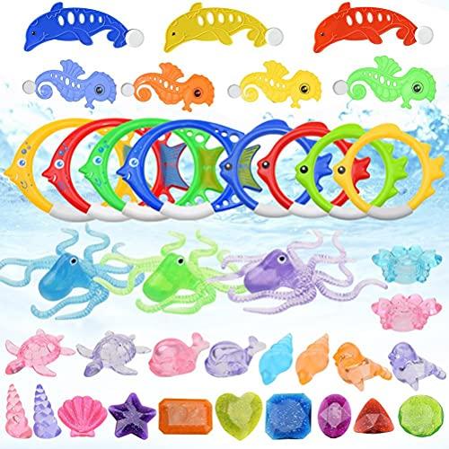 Akemaio Juguetes de buceo para niños, 3 delfines + 4 caballitos de mar + 4 aros de peces grandes sumergibles + 4 pequeños peces sumergibles + 3 pulpos, 8 joyas subacuáticas + 12 animales submarinos