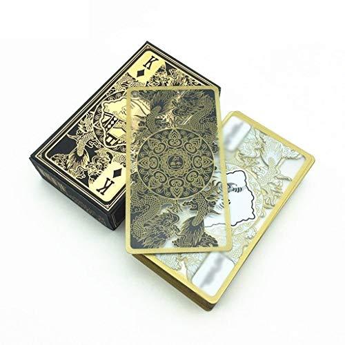 HYDKU Kartenspiele Hohe Qualität wasserdichte transparente Plastik Poker Goldrand-Spielkarten Drachen-Kartenspiel-Sammlung Geschenk