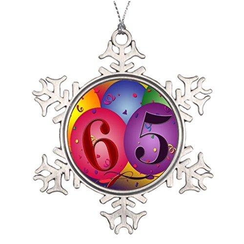 Cukudy Boomtak Decoratie 65 jaar! Verjaardag ballon Familie Sneeuwvlok Ornamenten 65e Verjaardag