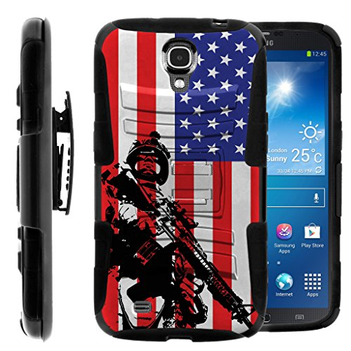 TurtleArmor | Compatible with Samsung Galaxy Mega Case | Mega 6.3 Case [Hyper Shock] Armor Hybrid Hard Shell Stand Fitted Silicone Holster Belt Clip War and Military - American Soldier