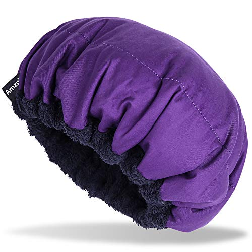 Cordless Deep Conditioning Heat Cap - Safe, Microwavable Heat Cap for Steaming, Heat Therapy for Hair, 100% Natural Cotton, Flaxseed Seed Interior for Maximum Heat Retention (Purple)