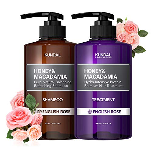 KUNDAL Korean Shampoo and Conditioner Set for Curly Damaged Color-treated, English Rose, Sulfate Free & Paraben Free 16.9 fl oz x 2