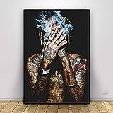 wopiaol Sin Marco Wiz Khalifa Rap Music Hip-Hop Art Fabric Poster Print Wall Pictures para Sala de Estar decoración Lienzo Pintura Carteles e Impresiones