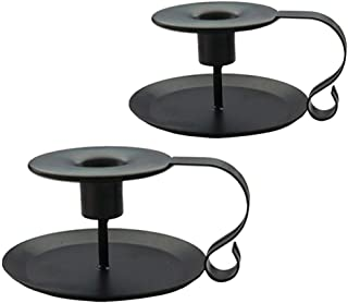 PRINTEMPS Wrought Iron Taper Candle Holder,Iron Candle Holders,Matte Black (Black-2P)