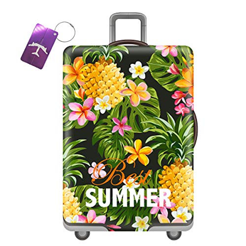 Luggage Cover Travel Suitcase Protector Trolley Case Protective Cover 3D Print Elastics Suitcase Cover Size Fits 22-32 Inch Luggage(Best Summer, M)