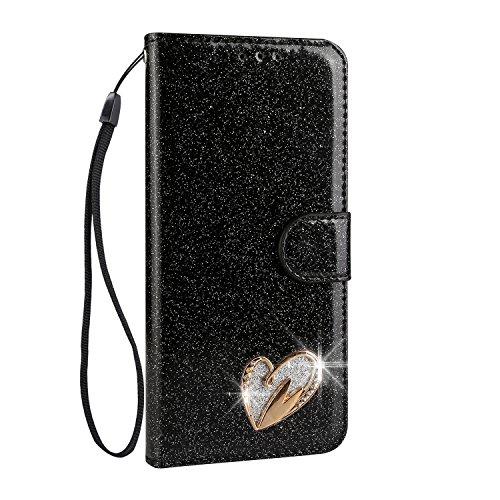 Mo-Somnus Funda de piel sintética con tapa para Samsung S series (función atril, incluye protector de pantalla de cristal templado), diseño de corazón con brillantes Galaxy S7 Edge Negro
