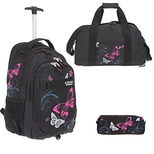 3 Teile Set: ELEPHANT Trolley Hero Signature Schultrolley + Sporttasche + Mäppchen Motiv 12680 (Butterfly Black PINK)