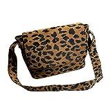 TENDYCOCO - Bolso bandolera (piel sintética), diseño de leopardo, color marrón