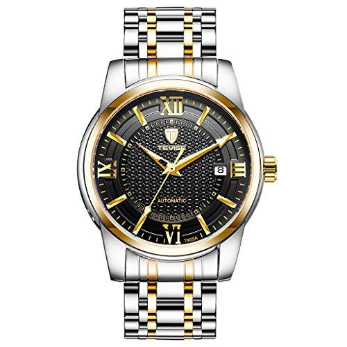 freneci TEVISE Reloj de Pulsera Luminoso Multifunción Deportivo para Hombre Reloj Mecánico Automático - Oro, Negro