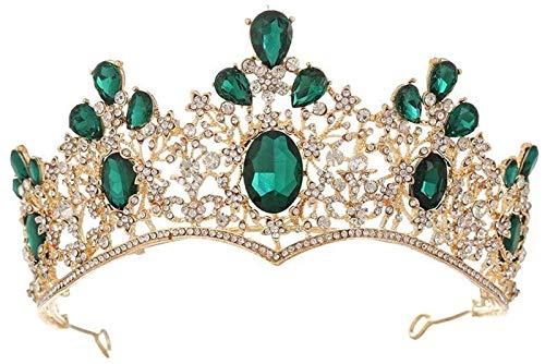 KEEBON Crown Wedding Crown Crystal for Women Bridal Headpiece Pageant Joyas de Cabello Adecuado para Boda Party Dance Bridal Pageant Prom Boda Joyería de Pelo, Color: Blanco (Color : Green)