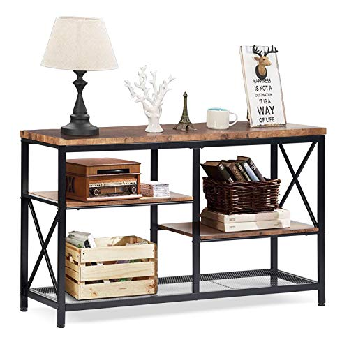 charaHOME Rustic Console Table, Industrial Sofa Table for Entryway, Hallway, Living Room, Behind The Couch, 51 Inch Long Table, 3-Tier X Design Narrow...