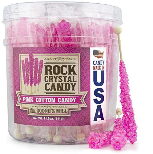 Boone's Mill | Rock Crystal Candy Sticks | Pink Cotton Candy | 36 Sticks