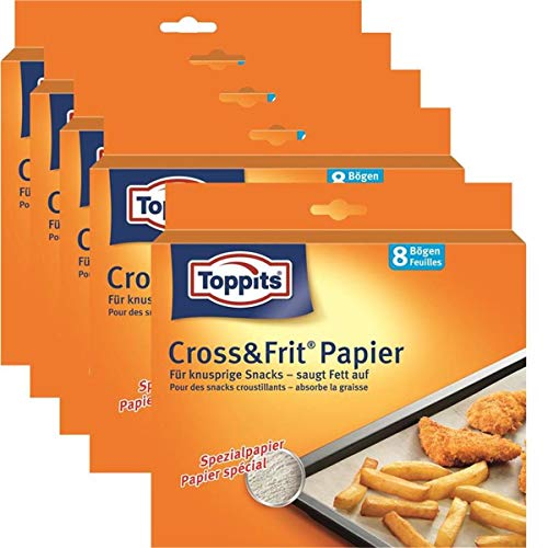 5 x Toppits® Cross&Frit Papier / Back-Spezialpapier (8 Bögen - 37 x 30 cm) SAUGSTARK