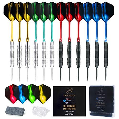CENTAUR 12 Pack Steel Tip Darts, Professional 22 Grams Metal Dart Set with...