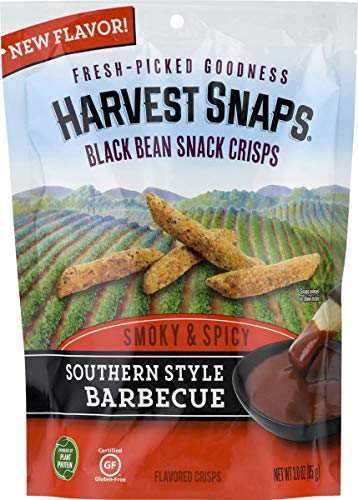 Harvest Snaps Southern Style Barbecue Black Bean Snack Crisps, Gluten-Free, Baked and Crunchy Vegetarian Snack With Plant Protein and Fiber, 3oz/3Count