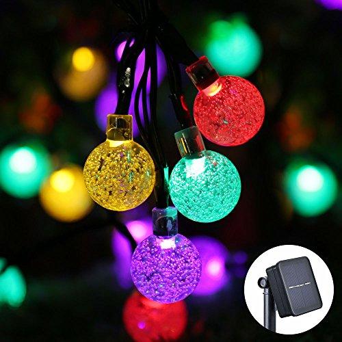 Qedertek Guirlande Solaire Extérieure 6M Guirlande Lumineuse Solaire avec 30 LED Boules IP65 Etanche Lampe Décorative Solaire pour Jardin d'été, Patio, Tente, Mariage - Multicolore