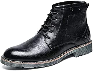 Xujw-shoes store, 2019 Mens New Lace-up Flats Combat Boots for Men High Top Boots Lace Up Synthetic  Leather Height Increased Vintage Block Heel Experienced Stitched Round Toe Durable Leisure Black