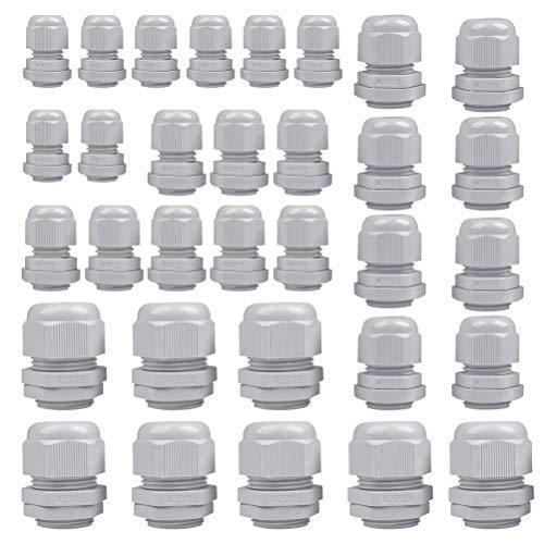 POKIENE 32 Stück Kabelverschraubung Set Wasserdichte Verschluss Kabel Verschraubung M12, M16, M20, M25 - Nylon Kunststoff, Weiße