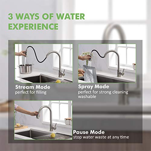 Kitchen Sink Faucet, Kitchen Faucet Stainless Steel with Pull Down Sprayer Brushed Nickel Commercial Modern High arc Single Handle Single Hole Pull Out Kitchen Faucets for Bar Laundry rv Utility Sink