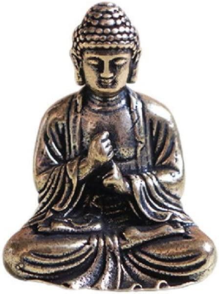 DMtse Brass Mini Antique Sakyamuni Buddha Statue Ornaments Meditation Seated Pose Journey Worship Attractive Serene Small Buddha Statue Figurine