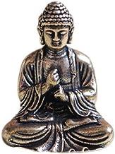 DMtse Brass Mini Antique Sakyamuni Buddha Statue Ornaments Meditation Seated Pose Journey Worship Attractive & Serene Smal...