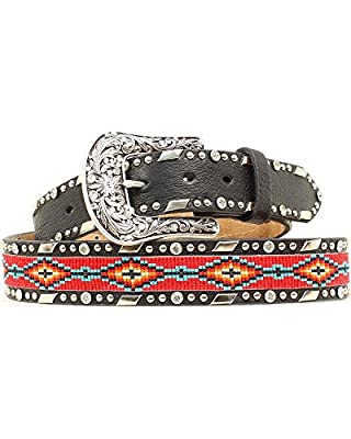 Ariat Women's Beaded Ribbon Inlay Belt Black X-Large