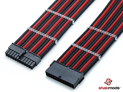ATX Cable de extensión retractilado negro y rojo de 24 pines enfundado, 30cm + 2peines de cable