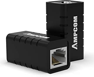 AMPCOM LANケーブル 延長コネクタ 2個入 黒 金属シールド ギガビット対応 Cat5e/Cat6/Cat6A/Cat7 黒