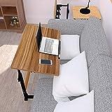Homemark Height Adjustable Overbed Bedside Table, 90° Tiltable 31.5' Home Computer Laptop Desk, Hospital Bed Desks Swivel Standing Tables with Wheels (Walnut)