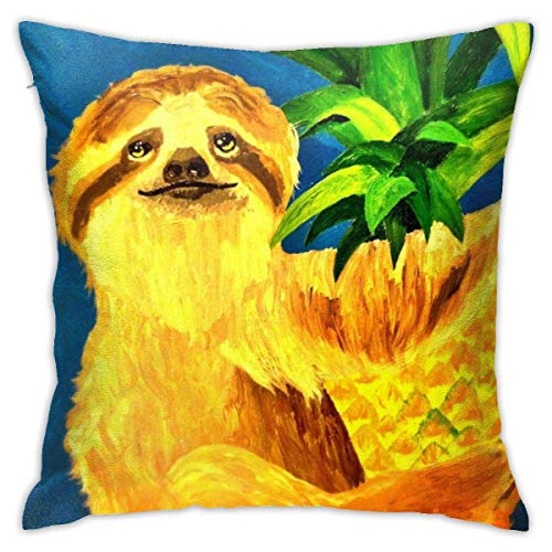 Hangdachang Throw Pillow Covers Pineapple Sloth Polyester Cushion Square Cases Pillowcases Sofa Home Decor 18 x 18 Inch Inch