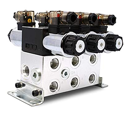 Electric Hydraulic Double Acting Directional Control Valve, 3 Spool, 15 GPM (A Spool, Controls Double Acting Cylinders, 12 Volt) from Summit Hydraulics