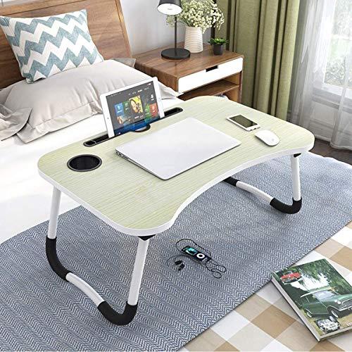 Astory Laptop-Betttisch, tragbar, Notebook-Ständer, Lese-Halter, Frühstückstablett mit klappbaren Beinen und Tassen-Schlitz zum Essen, Frühstücken, Lesen von Büchern, Filmen auf dem Bett/Couch/Sofa