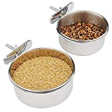 FinYii 2-Pack Bird Parrot Feeding Cups with Clamp, Stainless Steel Food Water Bowls Dish for Small Animal, Chinchilla, Ferret, Cockatiel, Conure, Parakeet