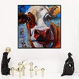 YuanMinglu Abstrakte Kuh Moderne Wandkunst für Wohnzimmer Hauptdekoration Farbe Leinwand Malerei Dekoration Tiermalerei rahmenlose Malerei 60x60cm