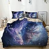 Juego de funda nórdica Beige, misteriosa nebulosa nube de gas en el espacio exterior profundo con Cluster Universe Solar, juego de cama decorativo de 3 piezas con 2 fundas de almohada Fácil cuidado An