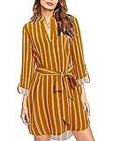 kenoce Blusa Vestidos para Mujer Cuello en V Plaid Camisa Suelta de Manga Larga Vestidos Casual Túnica Larga Tops F-Amarillo 2XL